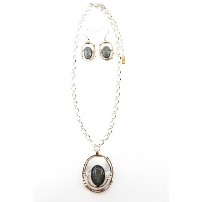 ENSEMBLE COLLIER ASTER GRIS