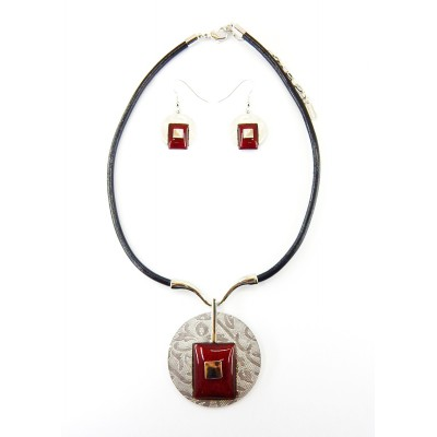 ENSEMBLE COLLIER ANEMONE ROUGE